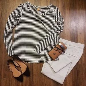 Banana Republic black white stripe cotton shirt